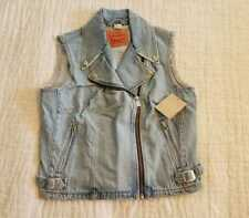 NEW WOMENS LARGE L LEVI'S MOTO TRUCKER DENIM CROPPED JEAN VEST JACKET SLASH