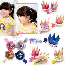 Hot Girls Xmas Party Hair Clips Crown Pearl Princess Sequined Barrette Ribbon