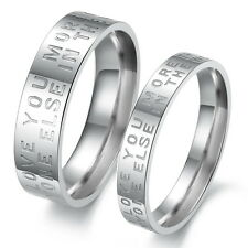 Titanium Steel Rings Engagement Finger Band Love Gift Silver Wedding Love New