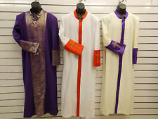 MEN'S CLERGY ROBES, Pastor, Preacher, Minister,Bishop, 3 Colors, All Sizes