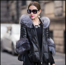 Plus Sz Winter Warm Womens Real Fur Collar Short Leather Coat Jacket Outwear