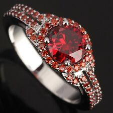 Fashion Jewelry Garnet IMPLICIT Gemstones Silver Rings US#Size5 6 7 8 9 T0765
