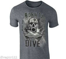Amphibious Outfitters T-Shirt - Born To Dive - Dark Heather Grey - Scuba - Skull