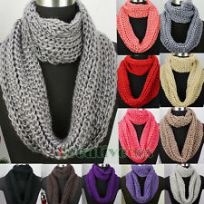 Thick Wool Knit Infinity 2-Loop Cowl Eternity Endless Circle Solid Color Scarf
