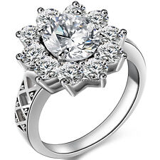 Womens Charm Stainless Steel 3.0 Ct Round Cubic Zirconia Sunflower Promise Ring