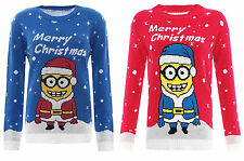CHILDRENS KIDS MINIONS CHRISTMAS XMAS NOVELTY JUMPER TOP AGE 3-12 YRS