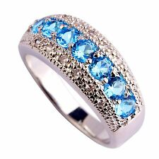 Blue White Sapphire Gemstone Silver Jewelry Mens Women Ring Size 6 7 8 9 10 11