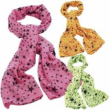 New Womens Star Design Neon Colored Scarfs Printed Shawls