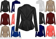 New Womens Crop Frill Shift Slim Fit Peplum Blazer Jacket Coat Ladies Size*ScbJk