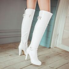 Buckle Strap Boots Winter Womens Zipped High Heel Over The Knee Boots Plus Size