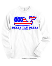 Delta Tau Delta DTD AMERICAN APPAREL Long Sleeve T Shirt USA Whale Flag NEW
