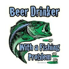 Beer Drinker With a Fishing Problem T-Shirt Funny Bass Fisherman Tee Fish S-6XL