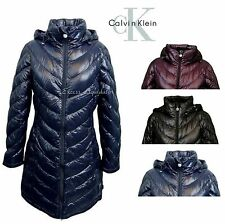 CALVIN KLEIN WOMEN'S PACKABLE DOWN LONG PUFFER COAT, NAVY, BLACK PLUM, NEW!