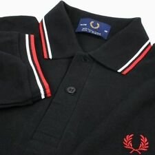 HOT NWT Black / White Red Stripe Twin 1fred Tipped Men's 1Perry Polo Shirt S M L