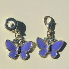 EUROPEAN OR LOBSTER CLASP CLIP ON STYLE PURPLE ENAMEL BUTTERFLY DANGLE CHARMS