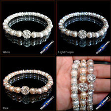 7-8mm Natural Freshwater Pearl Handmade Knitting Shamballa Bracelet Jewelry