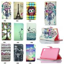 For Sony Xperia Z3 Cute Printed Flip Wallet Stand PU Leather Case TPU Cover Skin