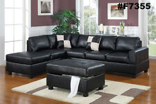 Black Sofa couch Leather Sofa sectional couch with Reversible Chiase 3 piece Set