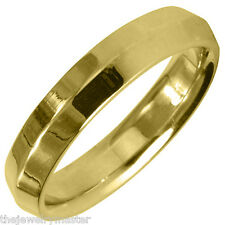 MENS WEDDING BAND ENGAGEMENT RING YELLOW GOLD HIGH GLOSS FINISH 4mm