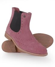 New Womens Superdry Mills Boots Rose Suede Pink WFD1