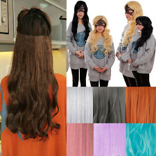 Long Hairpiece natural thick Clip In Hair Extension with 5 clips mix color Lp09