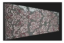 White Multi-Pattern Raschel Lace Fabric Burgundy Cording Beaded Floral Textile