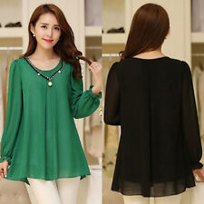 Casual Women Ladies OL Chiffon T-shirt Long Sleeve Oversized Tosp Blouse M-4XL