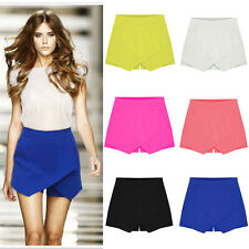 Neon Women Asymmetrical Career Tiered Culottes Skorts Shorts Wrap Mini Skirts ❤