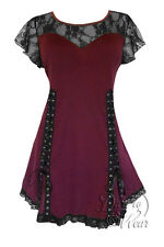 Plus Size Burgundy Black Lace Goth Roxanne Sweetheart Corset Top 1X 2X 3X 4X 5X
