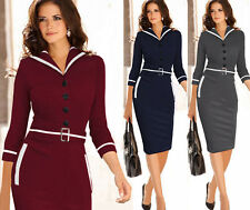 Womens Colorblock Tunic Work Business Casual Party Pencil Sheath Dress Plus Size