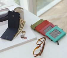 ID Window Card Holder Necklace Genuine Leather Wallet Neck Strap Lanyard Badge