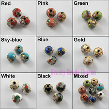 6mm 8mm 10mm Mixed Cloisonne Enamel Round Spacer Beads Charms