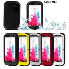 New LOVE MEI Aluminum Metal Gorilla Glass Shock/Water Proof Case For LG G3