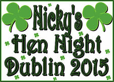 ✿✿PARTY DUBLIN SHAMROCK .. HEN NIGHT IRON ON TRANSFER CREATE T SHIRTS CHEAPLY ✿✿