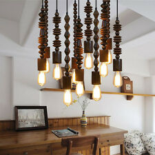 Retro Loft Wooden Chandelier beaded Ceiling Light Pendant Lamp Hall Lighting