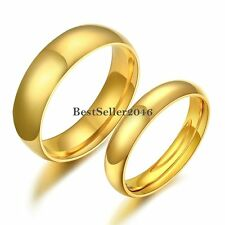 Polished Gold Tone Stainless Steel Engagement Promise Ring Dome Weeding Band