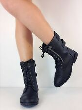 NEW Zipper Round Toe Low Heel Combat Military Lace Up Mid Calf Women's Shoes