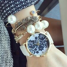 Lace Print Women's Ladies alloy Leather Strap Band Watches White/Black