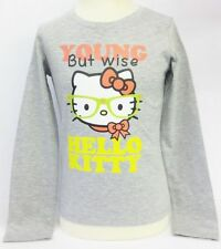 Girls Hello Kitty Grey Young But Wise Long Sleeve T-Shirt Style AMM-78414