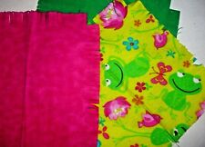 Floral flannel frog fabric rag quilt kit frog fringed die cut square batting sew