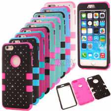 Heavy Duty Bling Diamond Shockproof Soft Hard Matte Cover Case for iPhone Series