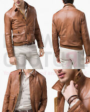 MASSIMO DUTTI (ZARA GROUP) SS15 BOMBER JACKET SHEEP LEATHER BROWN REF.3339/308