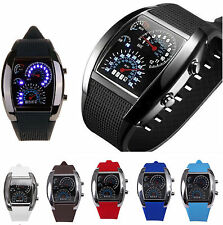 Blue LED Light Aviation Speedometer Steel Case Wrist Watch Black