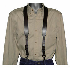 Dark Brown Leather Suspenders with scissor snaps no slip trigger snaps