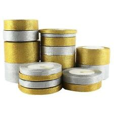 25YDS 6mm-50mm Golden/ Silver Organza Ribbon DIY Xmas Wedding Gift Box Craft A70