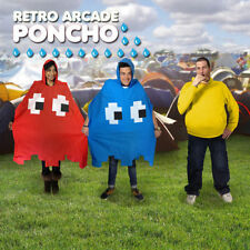 PacMan Waterproof Rain Mac Festival Poncho Fancy Dress Red or Blue Available