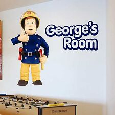 ANY NAME Fireman Sam Fire Man Wall Sticker Girls Bedroom colour Art Kids Boys
