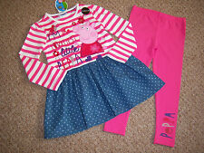 "BNWT, AGE 4-5 OR 5-6 YEARS GIRLS GEORGE ""PEPPA PIG"" TOP/DRESS & LEGGINGS OUTFIT"