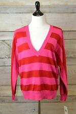 New! Tommy Hilfiger Red Pink Striped V-Neck Sweater (Select XS-XL)
