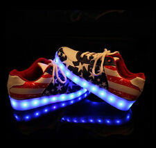 2015 American Flag Printing Womens Led Night Light Up Lace Up Sneakers Plus Size